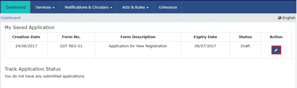 gst registration form submission