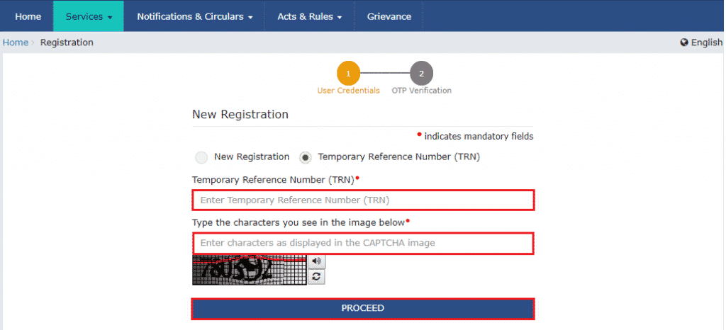 gst registration trn form