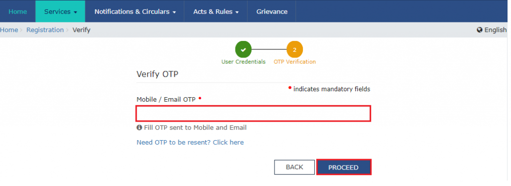 gst registration trn otp form